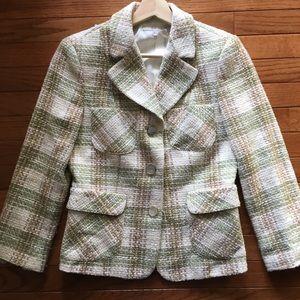 Zara Basic Tweed Plaid Blazer